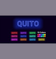 neon name of quito city vector image vector image