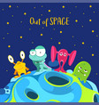out space spaceship background with monsters vector image vector image