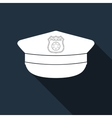 Police cap icon with long shadow vector image vector image