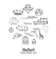 safari set isolated hand drawn doodles set vector image vector image