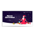 santa claus with colorful gift boxes sitting lotus vector image vector image