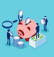 saving money or cash back concept blue coins vector image vector image