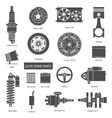 set auto spare parts car repair icons in flat vector image vector image