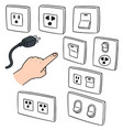 set of electric switch and plug vector image