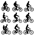 Set silhouette of a cyclist male and female vector image vector image