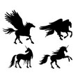 silhouettes mythical horses vector image