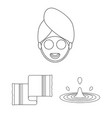 spa salon and equipment outline icons in set vector image