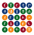 sport icon playing people set color in the circle vector image vector image