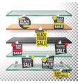 supermarket shelves black friday sale advertising vector image vector image