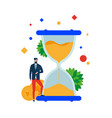 time is money businessman at the hourglass vector image vector image