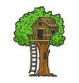 tree house color sketch engraving vector image