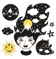 trendy cartoon set with girl with mountains the vector image