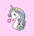 unicorn on a pink background with stars postcard vector image