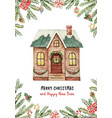 watercolor greeting card with christmas vector image vector image