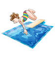 woman jumping in the pool vector image vector image