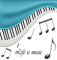 Music text frame with notes and piano keys vector image
