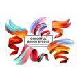 set of colorful brush strokes modern design vector image