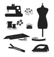 tools and materials sewing icon set isolated on vector image