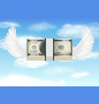 100 usd banknote with bird wing flying in sky vector image vector image