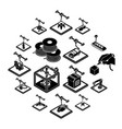 3d printing icons set simple style vector image vector image