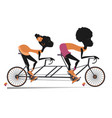 african man and woman rides a tandem bike vector image vector image