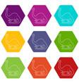 apatosaurus dinosaur icons set 9 vector image vector image