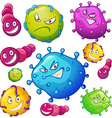 Bacteria with facial expressions vector image vector image