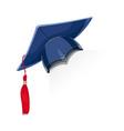 blue academicic graduation cap vector image