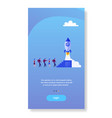 business people group launching space ship rocket vector image vector image