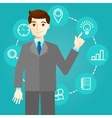 Businessman works with icons and new technologies vector image vector image