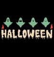 cartoon ghosts halloween emoji candles banner vector image
