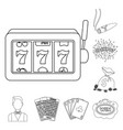 casino and gambling outline icons in set vector image