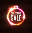 christmas sale discounts banner neon style card vector image vector image