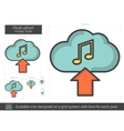 Cloud upload music line icon vector image vector image
