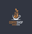coffee hot cup logo on dark background vector image vector image