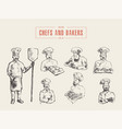 collection chefs bakers hand drawn sketch vector image