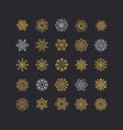 colorful snowflakes collection isolated on black vector image