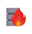 database server fire on white background vector image