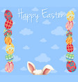 easter card template with colorful eggs vector image