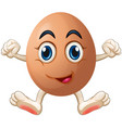 egg with face and hands vector image vector image