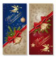 festive red and blue card with angel christmas vector image vector image