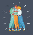 friends get together and give hug to each other vector image vector image