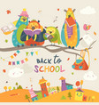 funny owls on the autumn branch back to school vector image