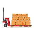hand pallet truck with cardboard boxes isolated vector image