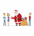 happy santa claus and children - cartoon character vector image