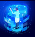 isometric doctor working virtual screen back view vector image vector image