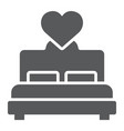 lovers bed glyph icon love and sleep double bed vector image vector image