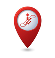 Map pointer with escalator icon vector image