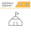 mountain peak editable stroke line icon vector image