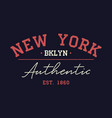 new york authentic typography for t-shirt vintage vector image vector image